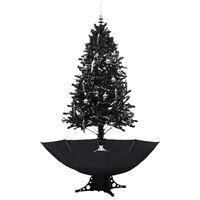 vidaXL Árvore Natal c/ neve base formato guarda-chuva 190 cm PVC preto