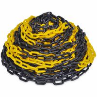 Cadeia de plástico de aviso, amarelo e preto, 30 m