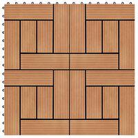 vidaXL Ladrilhos de pavimento 11 pcs WPC 30x30 cm 1m² cor de teca