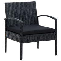 vidaXL Cadeira de jardim com almofadão vime PE preto