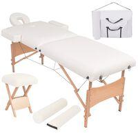 vidaXL Mesa massagem dobrável 2 zonas + banco 10 cm espessura branco