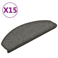 vidaXL Tapete/carpete para degraus 15 pcs 65x24x4cm cinza-escuro