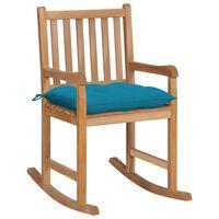 vidaXL Cadeira de baloiço com almofadão azul-claro teca maciça