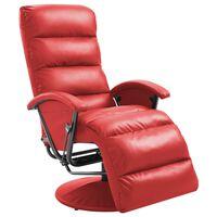 vidaXL Poltrona de TV reclinável em couro artificial vermelho