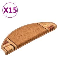 vidaXL Tapetes de escada adesivos 15 pcs 65x21x4 cm bege