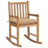vidaXL Cadeira de baloiço com almofadão bege teca maciça