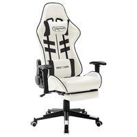 vidaXL Cadeira de gaming couro artificial branco e preto