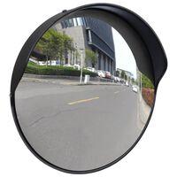 Convex Espelho de trânsito para exterior 30 cm policarbonato preto