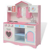 vidaXL Cozinha de brincar, madeira, 82x30x100cm, rosa e branco