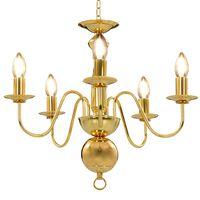 vidaXL Lustre de 5 lâmpadas E14 dourado
