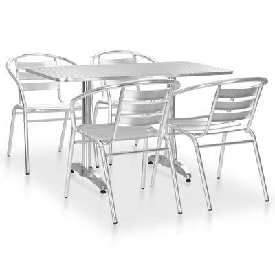 vidaXL 5 pcs conjunto de jantar para exterior alumínio prateado
