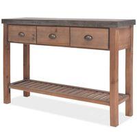 vidaXL Mesa consola madeira de abeto maciça 122x35x80 cm