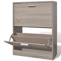 vidaXL Sapateira com 2 compartimentos em madeira, aparência carvalho