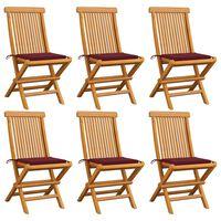 vidaXL Cadeiras jardim c/ almofadões vermelho tinto 6 pcs teca maciça