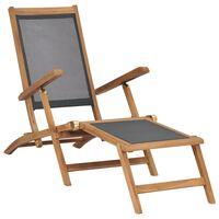 vidaXL Espreguiçadeira com apoio de pés em madeira teca maciça preto