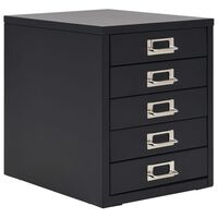 vidaXL Armário de arquivo com 5 gavetas metal 28x35x35 cm preto