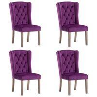 vidaXL Cadeiras de jantar 4 pcs veludo roxo