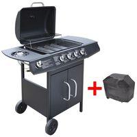 vidaXL Grelhador/barbecue a gás 4+1 queimadores preto