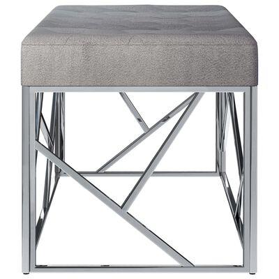 vidaXL Banco 97 cm veludo cinzento e aço inoxidável