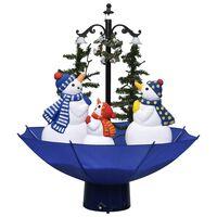 vidaXL Árvore Natal c/ neve base formato guarda-chuva 75 cm PVC azul