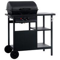 vidaXL Grelhador/BBQ a gás com mesa de apoio 3 prateleiras preto