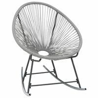 vidaXL Cadeira de baloiço lua de jardim vime PE cinzento