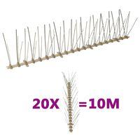 vidaXL Conjunto 20 picos para pássaros e pombos 5 filas 10 m plástico