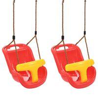 vidaXL Baloiços para bebé com cinto de segurança 2 pcs PP vermelho