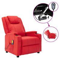 vidaXL Poltrona de massagens elétrica reclinável couro art. vermelho