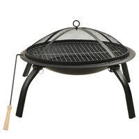 vidaXL Braseira e barbecue 2-em-1 com atiçador 56x56x49 cm aço