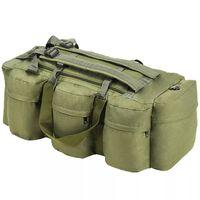 vidaXL Saco de pano estilo militar 3-em-1 120 L verde azeitona