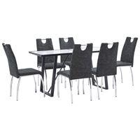 vidaXL 7 pcs conjunto de jantar couro artificial preto