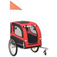 vidaXL Reboque de bicicletas para cães vermelho e preto