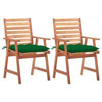 vidaXL Cadeiras de jantar p/ jardim 2 pcs c/ almofadões acácia maciça