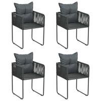 vidaXL Cadeiras de exterior 4 pcs c/ almofadões vime PE preto