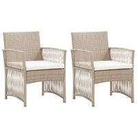 vidaXL Cadeiras de jardim com almofadões 2 pcs vime PE bege