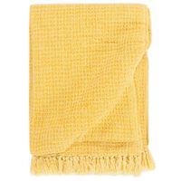 vidaXL Manta em algodão 160x210 cm amarelo mostarda