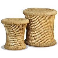 vidaXL Bancos 2 pcs bambu e juta