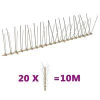 vidaXL Conjunto 20 picos para pássaros e pombos 4 filas 10 m plástico