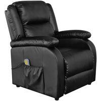 vidaXL Cadeira de massagens couro artificial preto