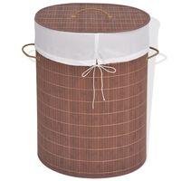 vidaXL Cesto oval para roupa suja bambu castanho