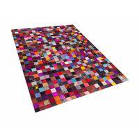 Tapete colorido quadriculado - Feito à mão - Pele genuína - 160x230 cm
