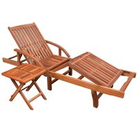 vidaXL Espreguiçadeira com mesa madeira acácia maciça