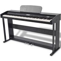 vidaXL Piano digital de 88 teclas com pedais, placa de melamina preta