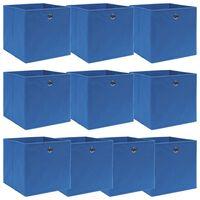 vidaXL Caixas de arrumação 10 pcs 32x32x32 cm tecido azul