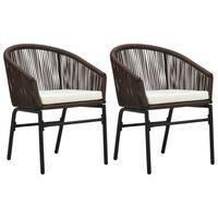 vidaXL Cadeiras de jardim 2 pcs vime de PVC castanho