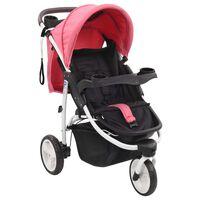 vidaXL Carrinho de bebé com três rodas rosa e preto
