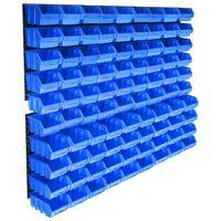 vidaXL 96 pcs Kit caixas arrumação com painéis de parede azul