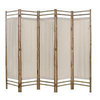 vidaXL Biombo com 5 painéis dobráveis bambu e lona 200 cm