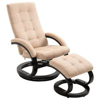 vidaXL Poltrona reclinável com apoio de pés tecido acamurçado creme